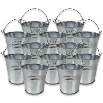 Mini 3inch Metal Crayon/Pencil Holder Favor Bucket Pail (12pcs, Galvanized) - Premier