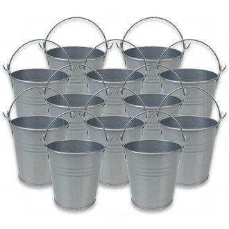 Mini 3inch Metal Crayon/Pencil Holder Favor Bucket Pail (12pcs, Grey) - Premier