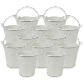 Mini 3inch Metal Crayon/Pencil Holder Favor Bucket Pail (12pcs, Ivory) - Premier