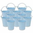 Mini 3inch Metal Crayon/Pencil Holder Favor Bucket Pail (12pcs, Light Blue) - Premier