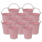Mini 3inch Metal Crayon/Pencil Holder Favor Bucket Pail (12pcs, Light Pink) - Premier