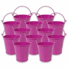 Mini 3inch Metal Crayon/Pencil Holder Favor Bucket Pail (12pcs, Magenta) - Premier