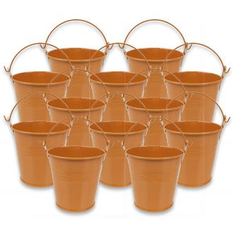 Mini 3inch Metal Crayon/Pencil Holder Favor Bucket Pail (12pcs, Orange) - Premier