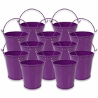 Mini 3inch Metal Crayon/Pencil Holder Favor Bucket Pail (12pcs, Plum) - Premier