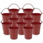 Mini 3inch Metal Crayon/Pencil Holder Favor Bucket Pail (12pcs, Red) - Premier