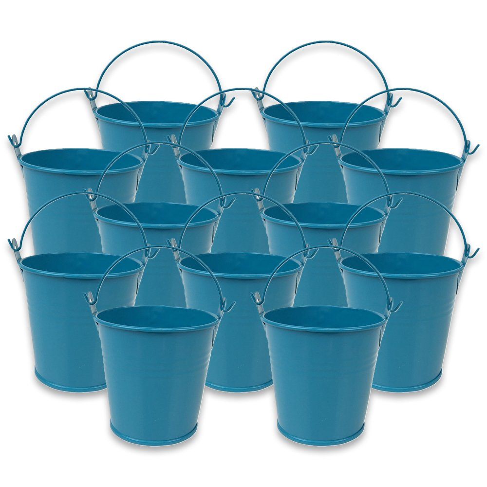 Mini 3inch Metal Crayon/Pencil Holder Favor Bucket Pail (12pcs, Teal) - Premier