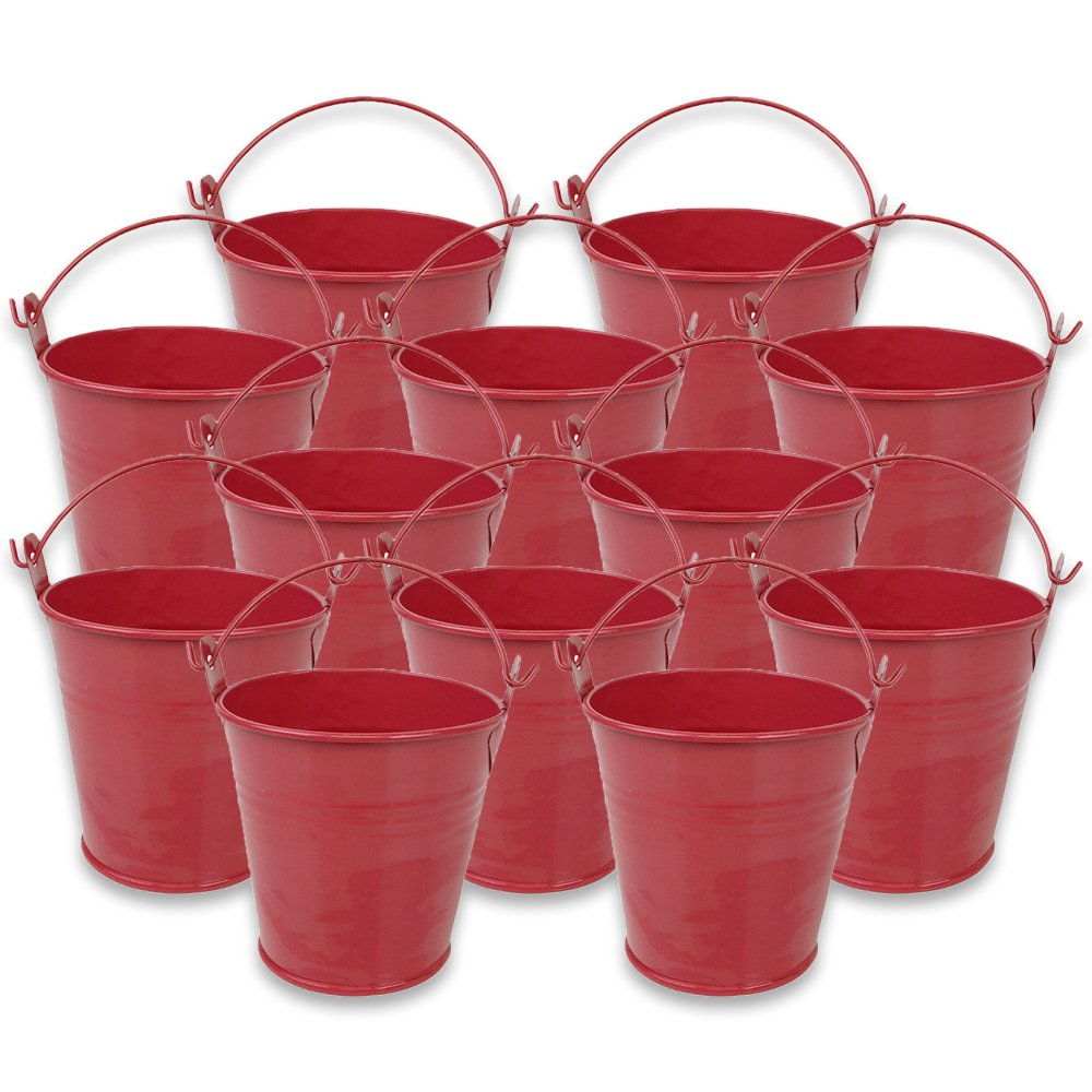 Mini 3inch Metal Crayon/Pencil Holder Favor Bucket Pail (12pcs, Watermelon) - Premier