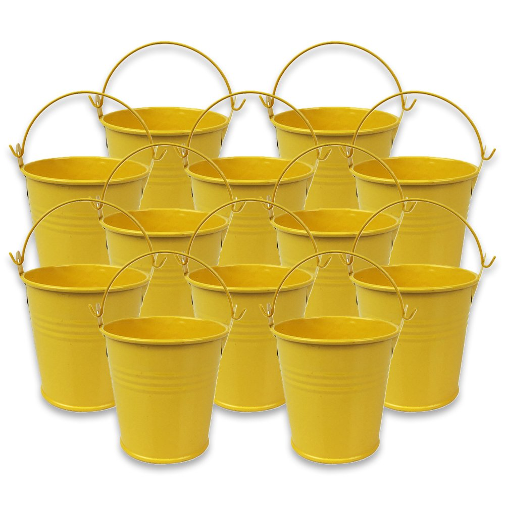 Mini 3inch Metal Crayon/Pencil Holder Favor Bucket Pail (12pcs, Yellow) - Premier