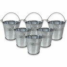 Mini 3inch Metal Crayon/Pencil Holder Favor Bucket Pail (6pcs, Galvanized) - Premier