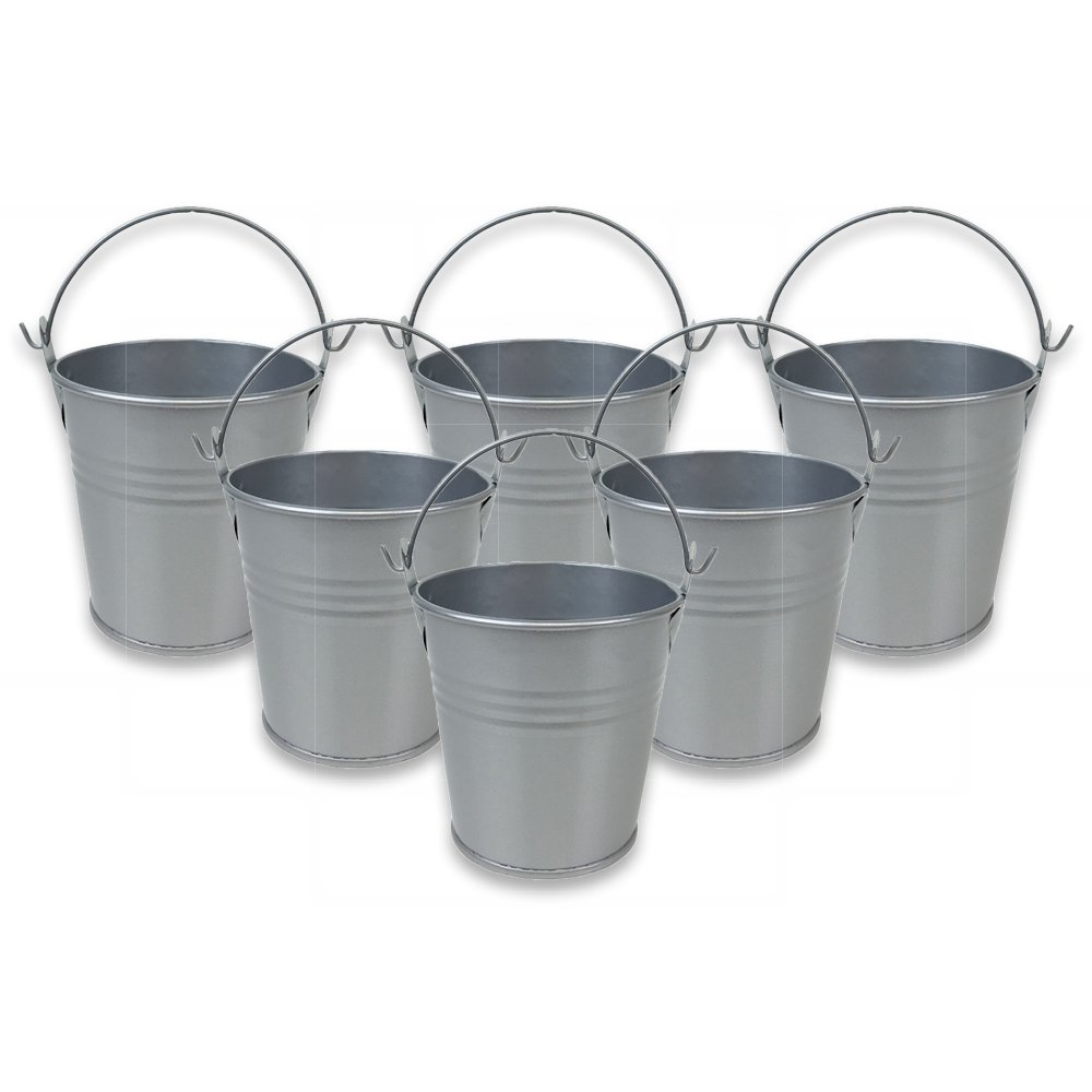 Mini 3inch Metal Crayon/Pencil Holder Favor Bucket Pail (6pcs, Grey) - Premier