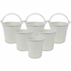 Mini 3inch Metal Crayon/Pencil Holder Favor Bucket Pail (6pcs, Ivory) - Premier