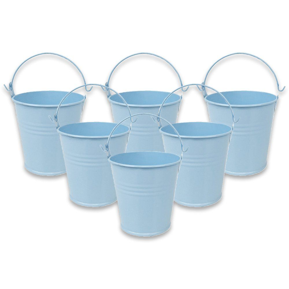 Mini 3inch Metal Crayon/Pencil Holder Favor Bucket Pail (6pcs, Light Blue) - Premier
