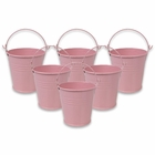 Mini 3inch Metal Crayon/Pencil Holder Favor Bucket Pail (6pcs, Light Pink) - Premier
