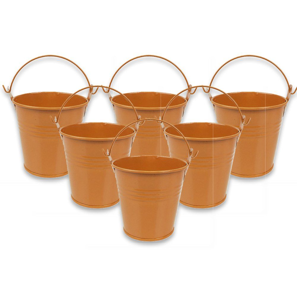 Mini 3inch Metal Crayon/Pencil Holder Favor Bucket Pail (6pcs, Orange) - Premier