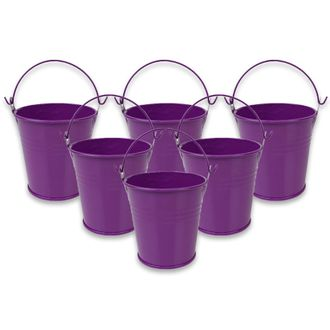 Mini 3inch Metal Crayon/Pencil Holder Favor Bucket Pail (6pcs, Plum) - Premier