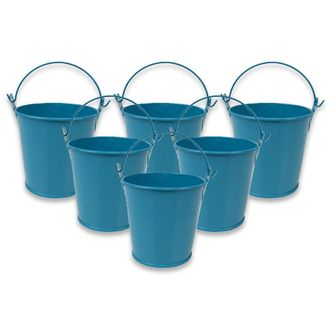 Mini 3inch Metal Crayon/Pencil Holder Favor Bucket Pail (6pcs, Teal) - Premier