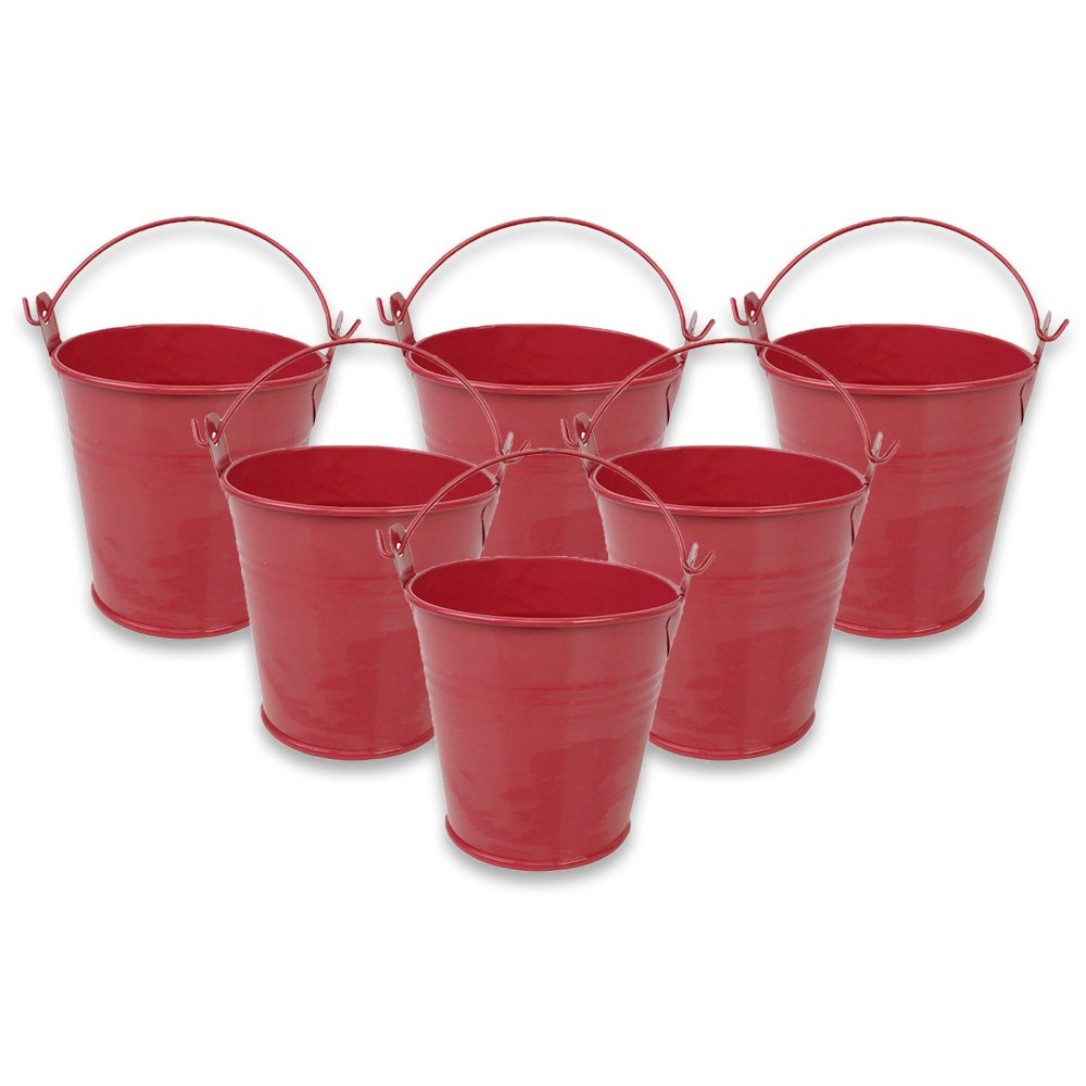 Mini 3inch Metal Crayon/Pencil Holder Favor Bucket Pail (6pcs, Watermelon) - Premier