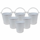 Mini 3inch Metal Crayon/Pencil Holder Favor Bucket Pail (6pcs, White) - Premier