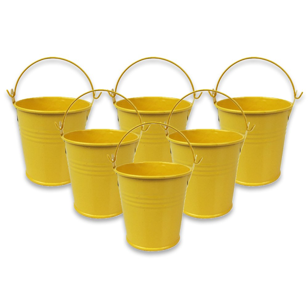 Mini 3inch Metal Crayon/Pencil Holder Favor Bucket Pail (6pcs, Yellow) - Premier