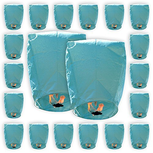 Mini Eco-Wire Free Biodegradable Eclipse Sky Lanterns (Set of 20, Blue) - Premier