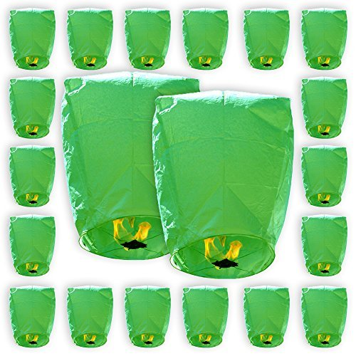 Mini Eco-Wire Free Biodegradable Eclipse Sky Lanterns (Set of 20, Green) - Premier