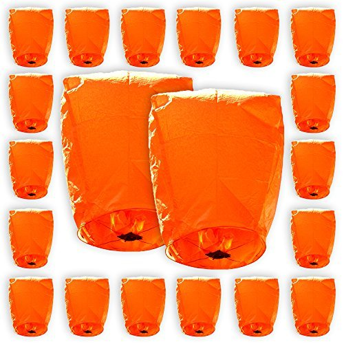 Mini Eco-Wire Free Biodegradable Eclipse Sky Lanterns (Set of 20, Orange) - Premier