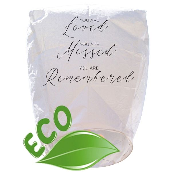 Mini ECO Wire-Free Eclipse Loved Missed Remembered Memorial Sky Lantern