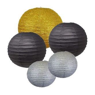 New Year's Celebration Paper Lantern Package (Assorted: (2) 8inch, (2) 12inch, (1) 16inch) - Brand (New Year's Kit-3) - Premier