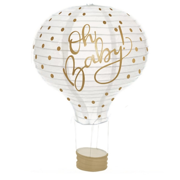 Oh Baby Polka Dot Gold Hot Air Balloon Paper Lantern 12in