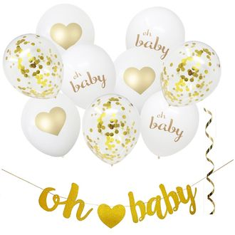 Oh Baby Shower Gold Hanging Decorating Kit 11pcs