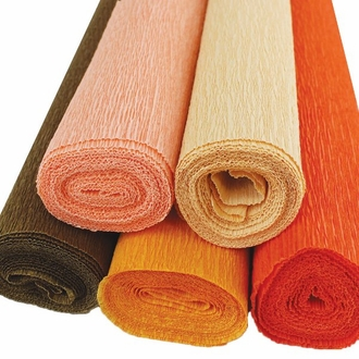 Orange Assorted Crepe Paper Roll Package 5pcs