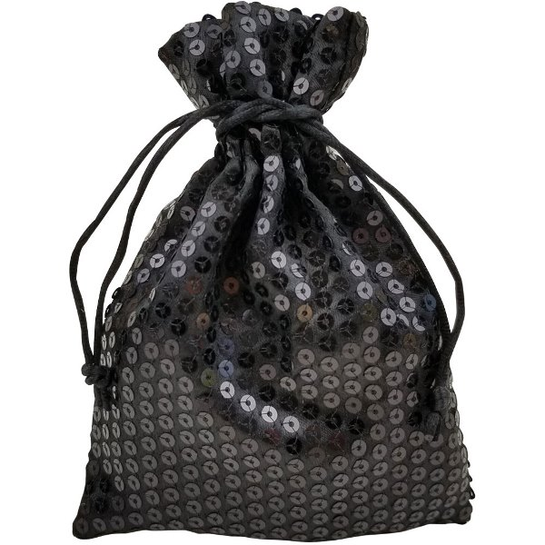 Organza Favor Bag 10pcs Black Sequence