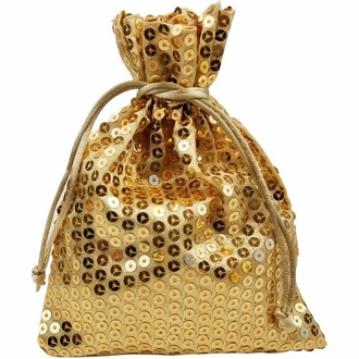 CLEARANCE Organza Favor Bag 10pcs Gold Sequence