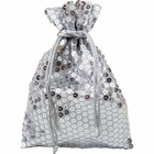 Organza Favor Bag 10pcs Silver Sequence