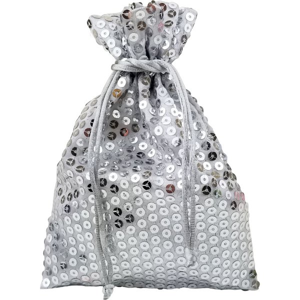 CLEARANCE Organza Favor Bag 10pcs Silver Sequence