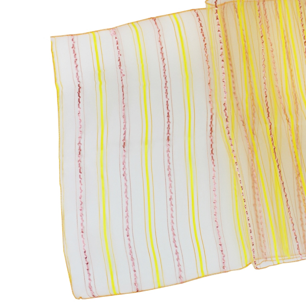 Organza Stripe Table Runner Mango Orange