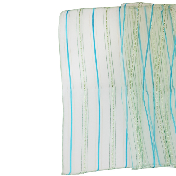 CLEARANCE Organza Stripe Table Runner Turquoise Blue
