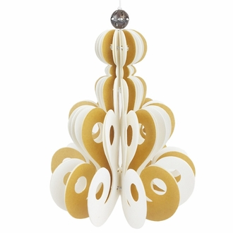 Origami Ornament Daisy Gold and White