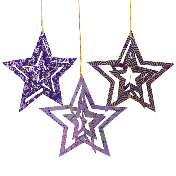 Origami Stars Ornament 3pcs Purple