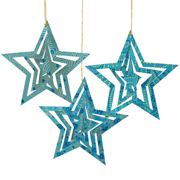 CLEARANCE Origami Stars Ornament 3pcs Turquoise Blue