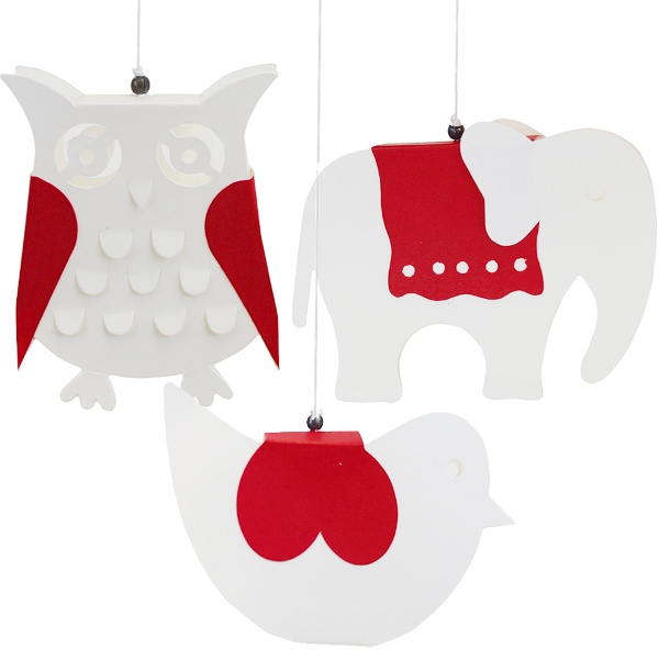 Ornament 3pcs White and Red Kirigami Menagerie
