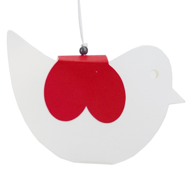 Ornament Kirigami Red and White Bird