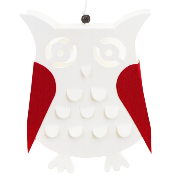 Ornament Kirigami Red and White Owl