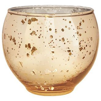 "Ovoid Mercury Glass Votive Candle Holder 2.75""H Speckled Gold"