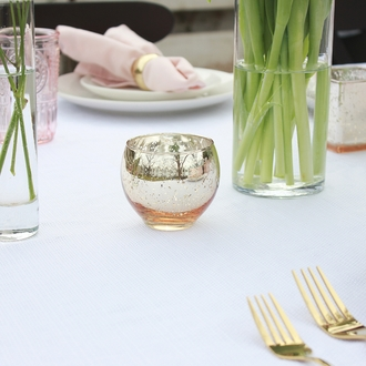 """Ovoid Mercury Glass Votive Candle Holder 2.75""""H Speckled Gold"""