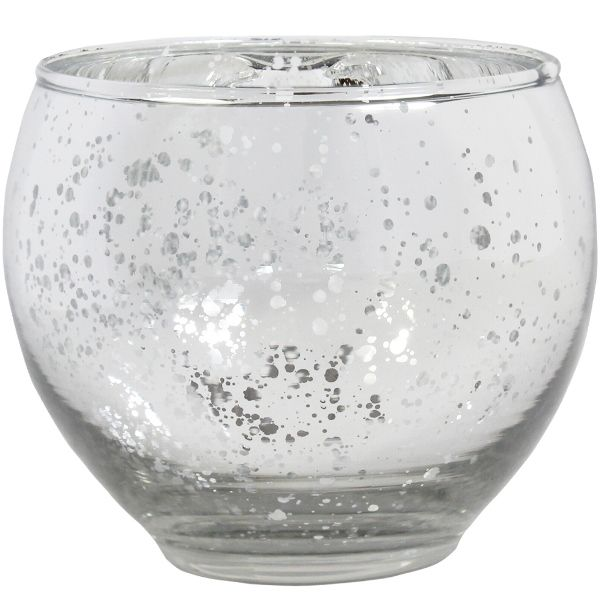 """Ovoid Mercury Glass Votive Candle Holder 2.75""""H Speckled Silver"""