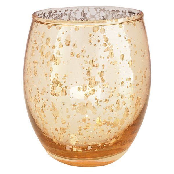 "Ovoid Mercury Glass Votive Candle Holder 3.25""H Speckled Gold"