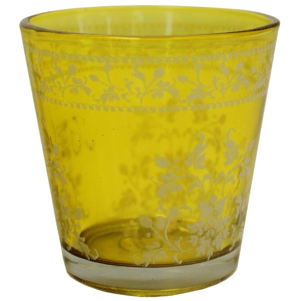 Painted Glass Candle Holder Chartreuse Fara 2in