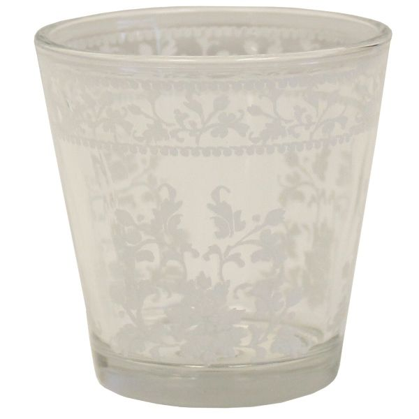 Painted Glass Candle Holder Clear Fara 2in