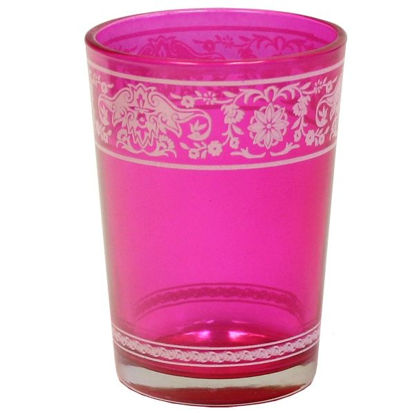 Painted Glass Candle Holder Fuchsia Pink Aliz 3in